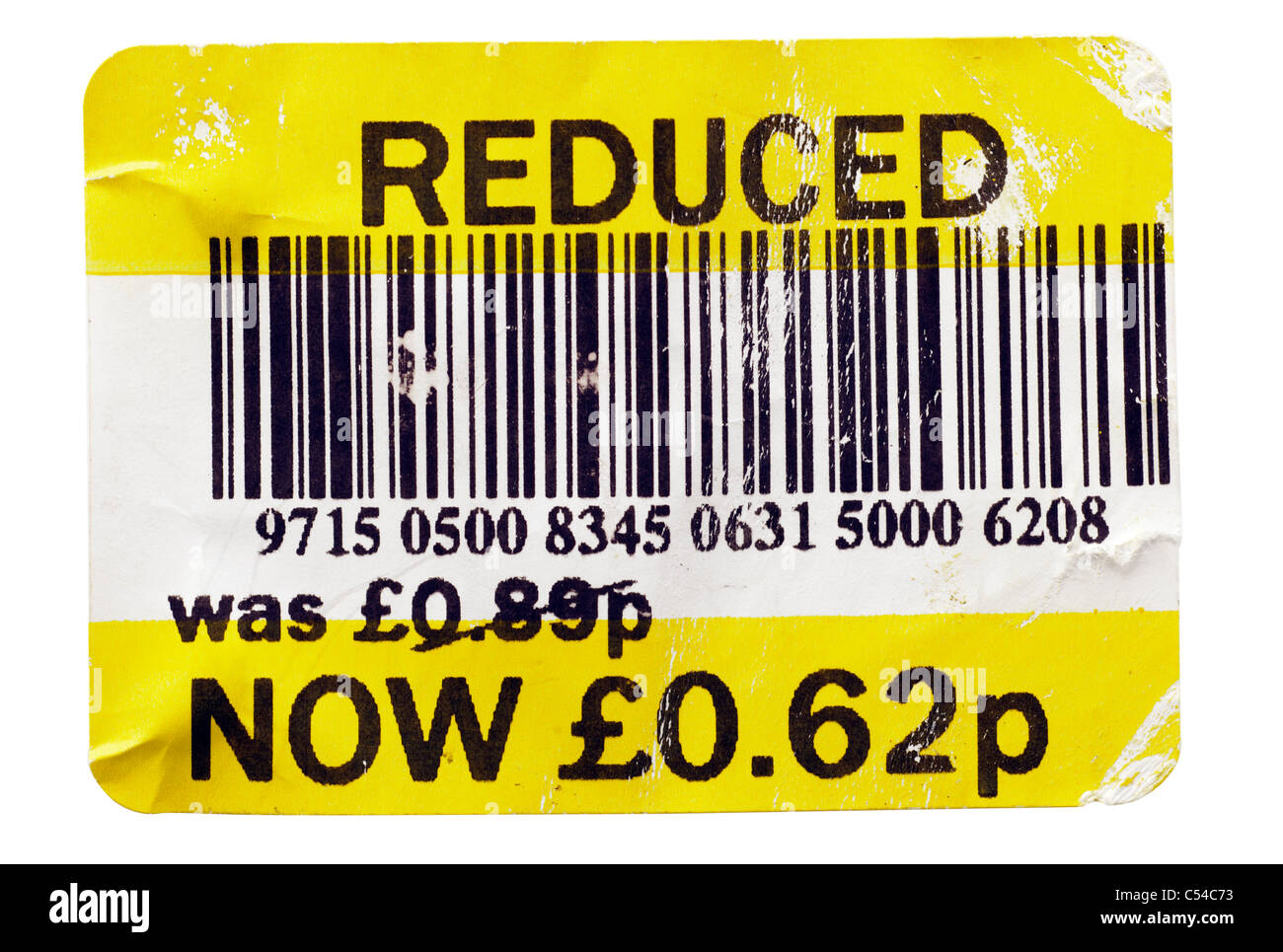 Tatty Supermarket reduction label giving a reduced price from 89 pence to 62 pence. EDITORIAL ONLY - Stock Image