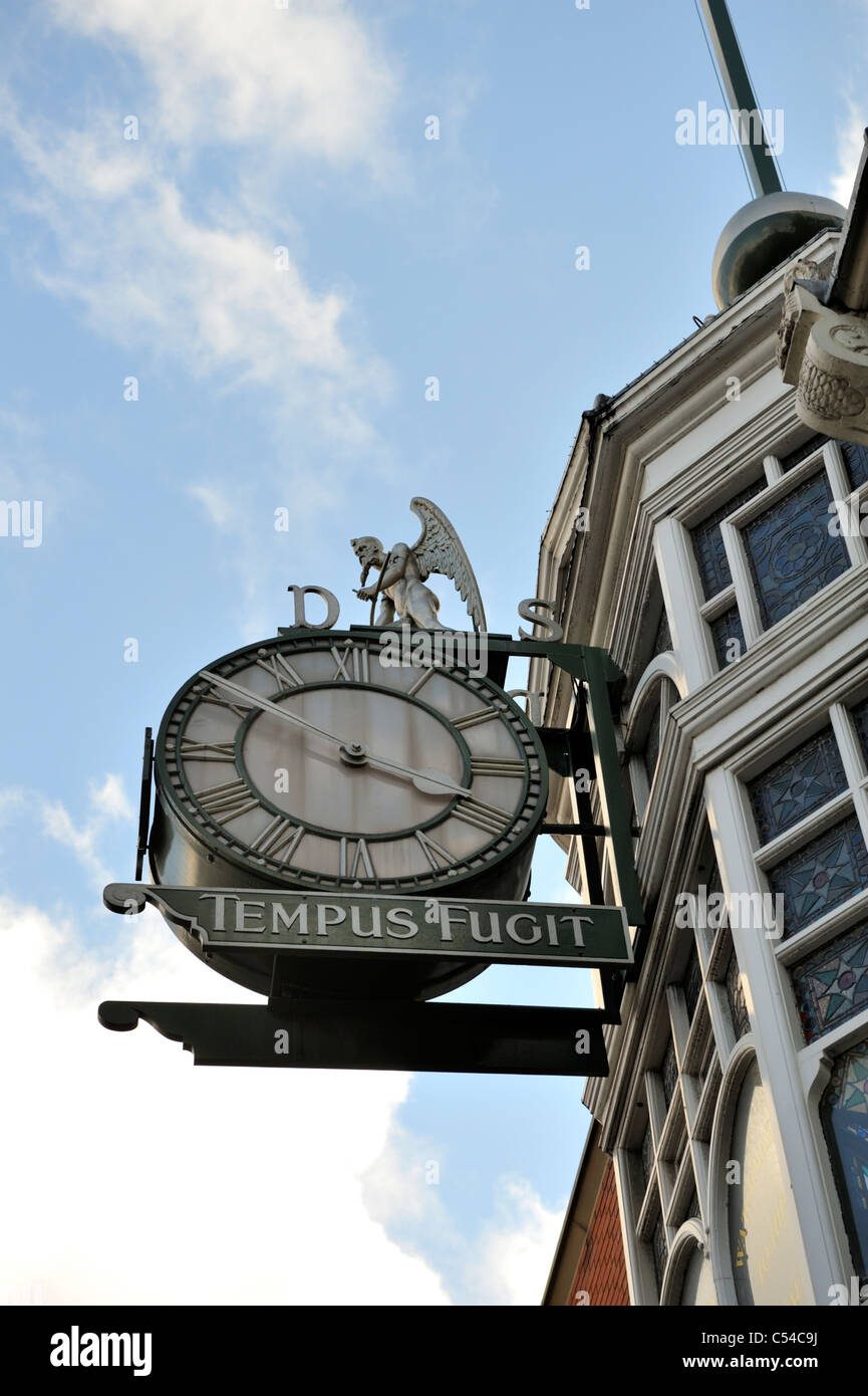 Time flies, Tempus Fugit, old father time clock historic Dysons Jewellers building, Leeds - Stock Image