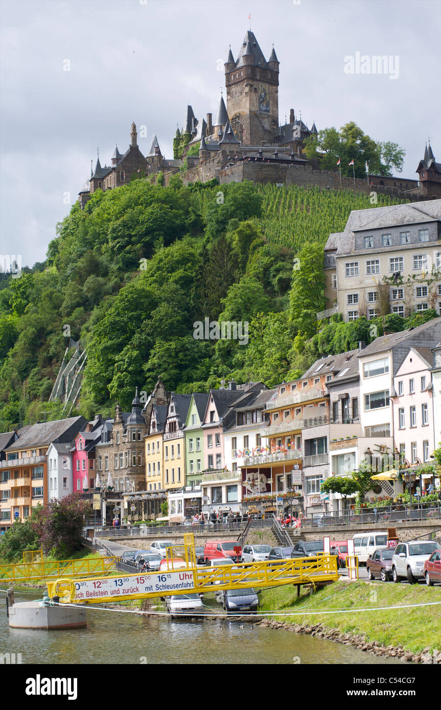 View of Cochem with Cochem castle in Rheinland-Palatinate at the Moselle river, Germany - Stock Image