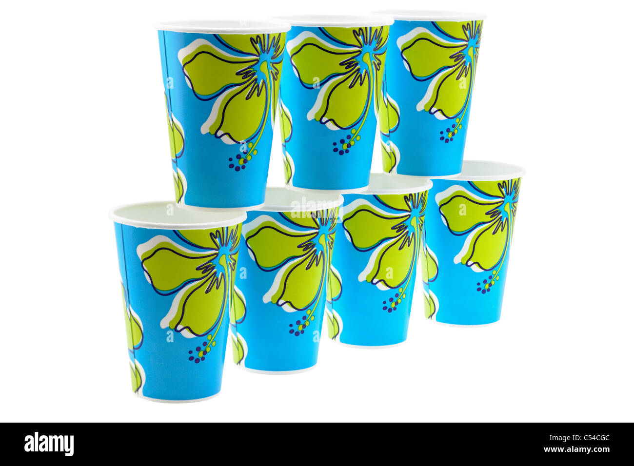 Seven blue and green patterned paper cups - Stock Image