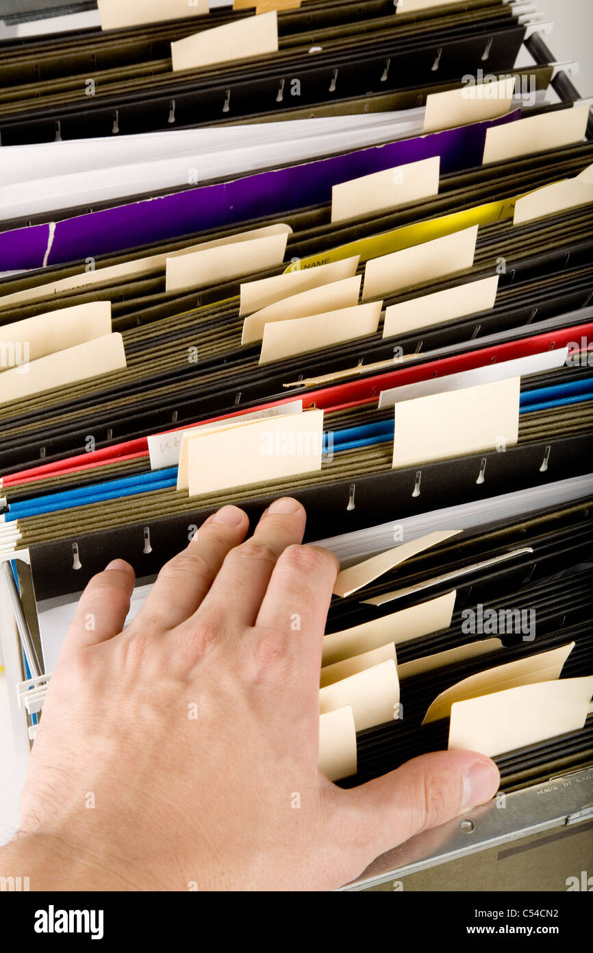 searching a file, business concept - Stock Image
