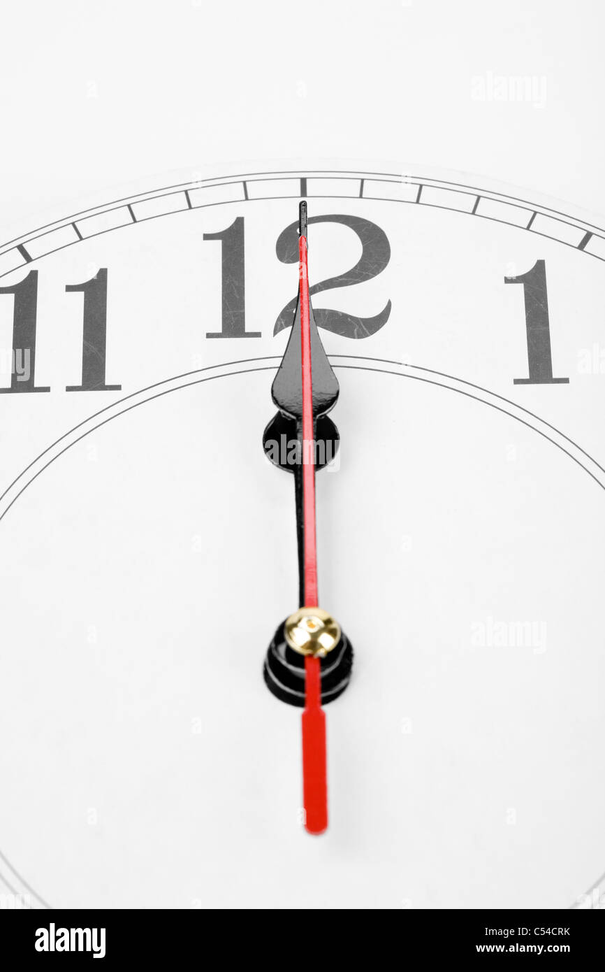 clock, noon or midnight - Stock Image