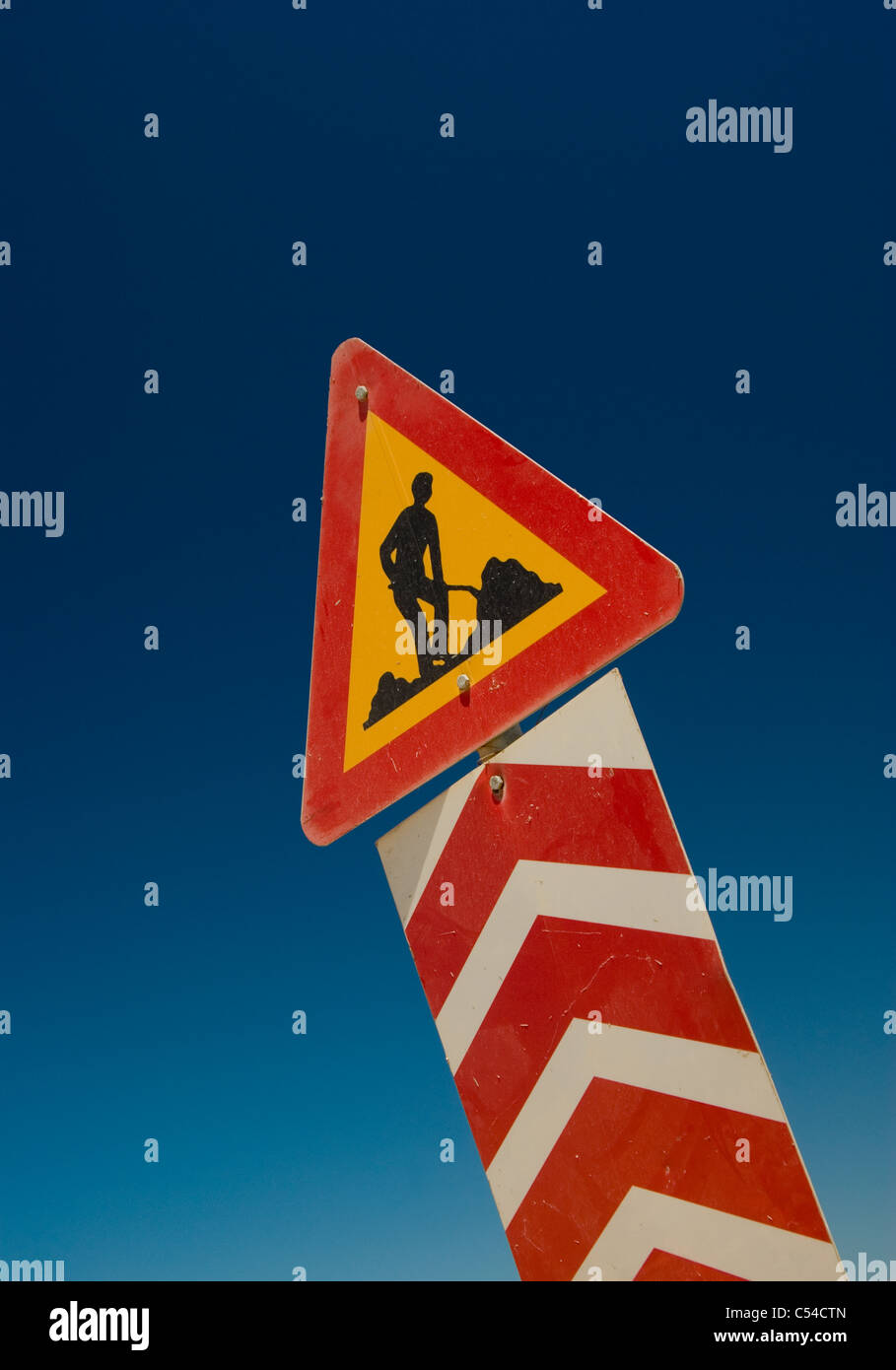 Greek / European men at work sign, conceptual use could include Greek infastructure maintainance, employment, Jobs. - Stock Image