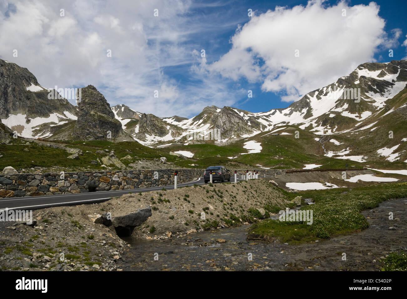 Valais Alps from Great St Bernard Pass, Col du Grand-Saint-Bernard, Colle del Gran San Bernardo, Western Alps, Italy Stock Photo