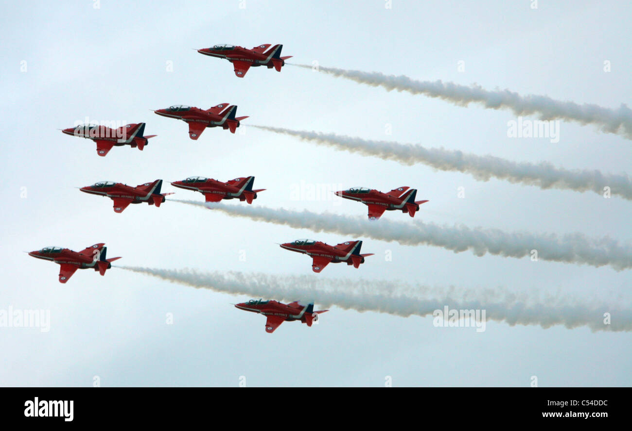Red Arrows, Aerobatic Team, RAF, Cowes, Isle of Wight, England, UK, Cowes Week, 2008 - Stock Image