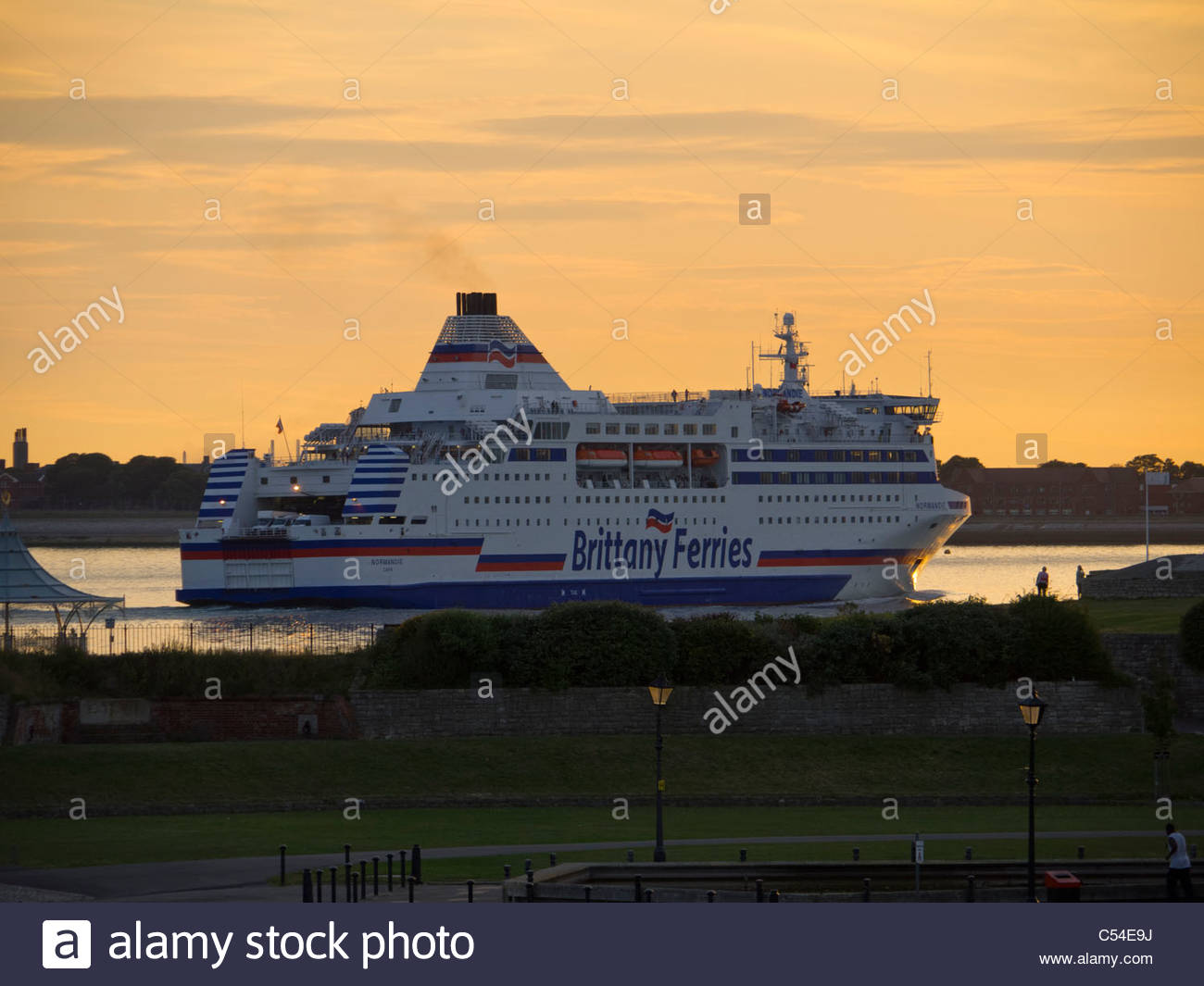 Brittany Ferries Normandie arriving Portsmouth Southsea Evening Sunset - Stock Image