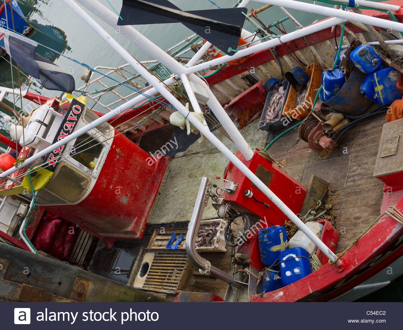 Portsmouth Southsea Deck of Fishing Boat - Stock Image
