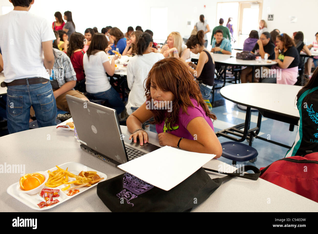 Hispanic teen student works on laptop computer in school cafeteria while others socialize with friends and eat lunch - Stock Image