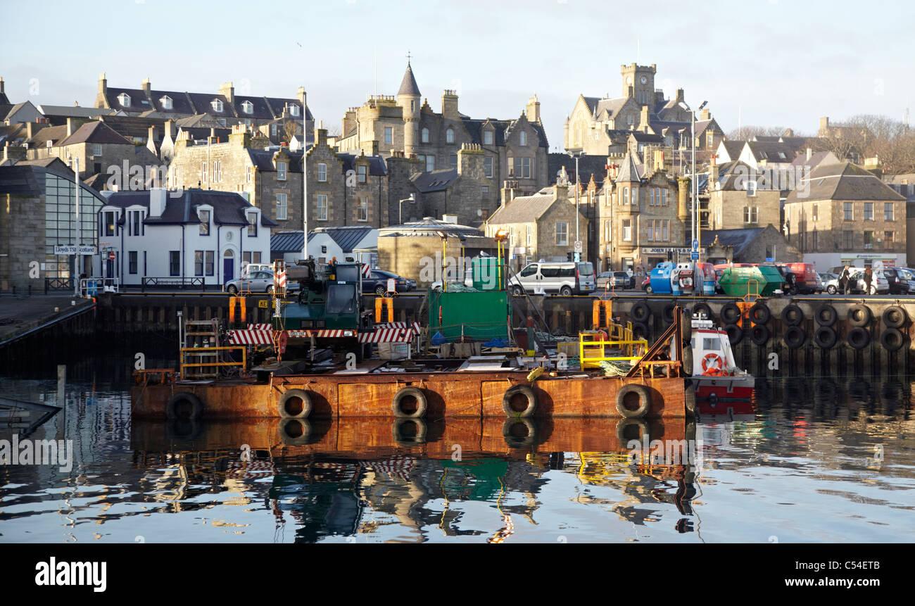 Fishing Boats Harbour Lerwick Shetland Islands UK - Stock Image