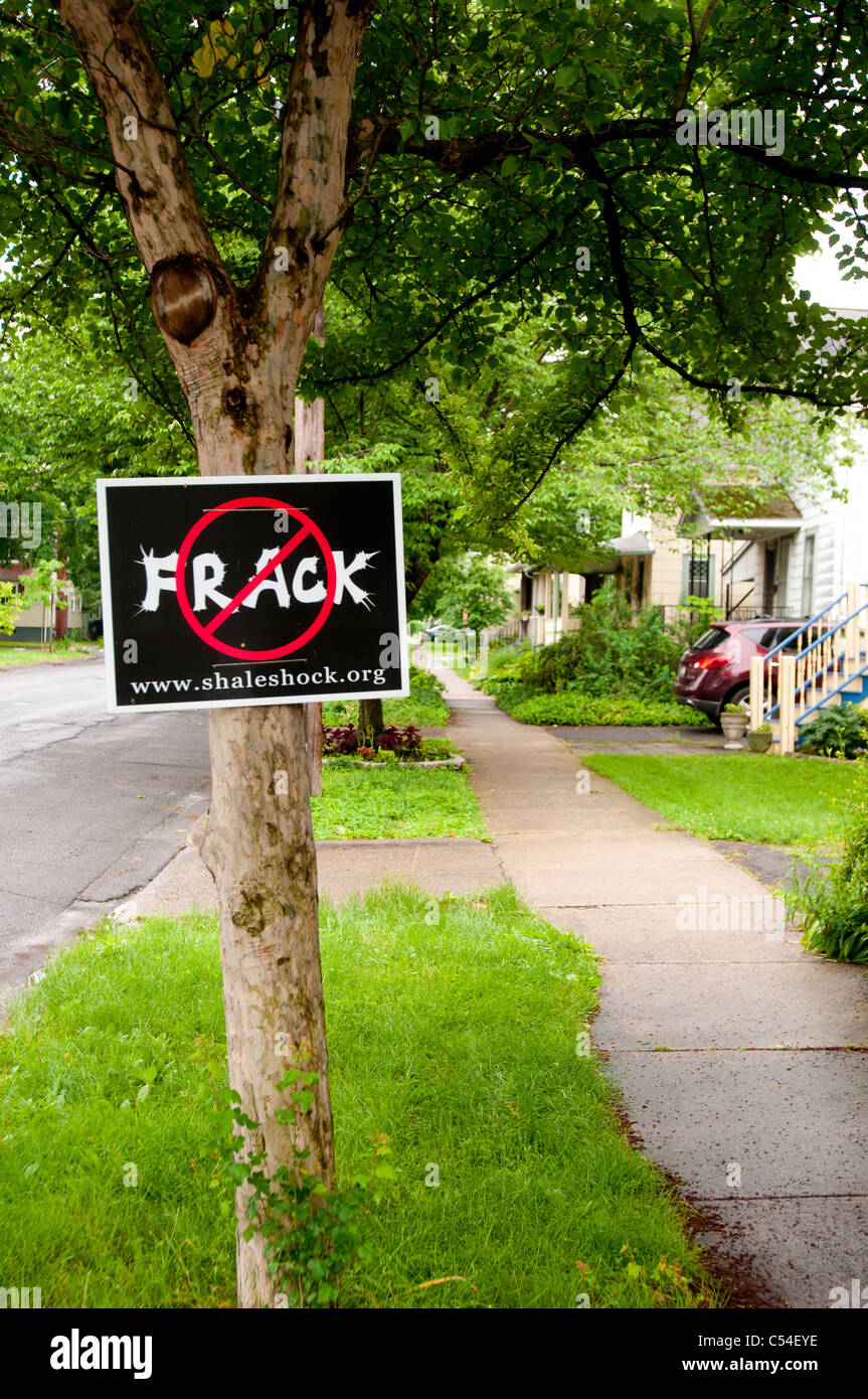 Anti fracking plate on the tree, New York State, USA - Stock Image