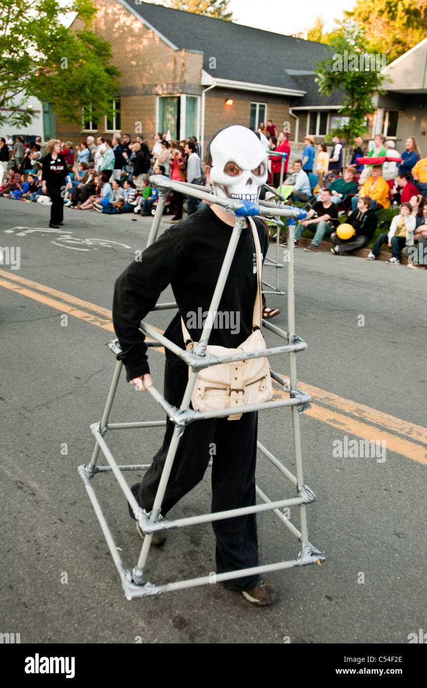 Fracking protest during Ithaca Festival 2011, Death in shale gas rig, New York USA - Stock Image