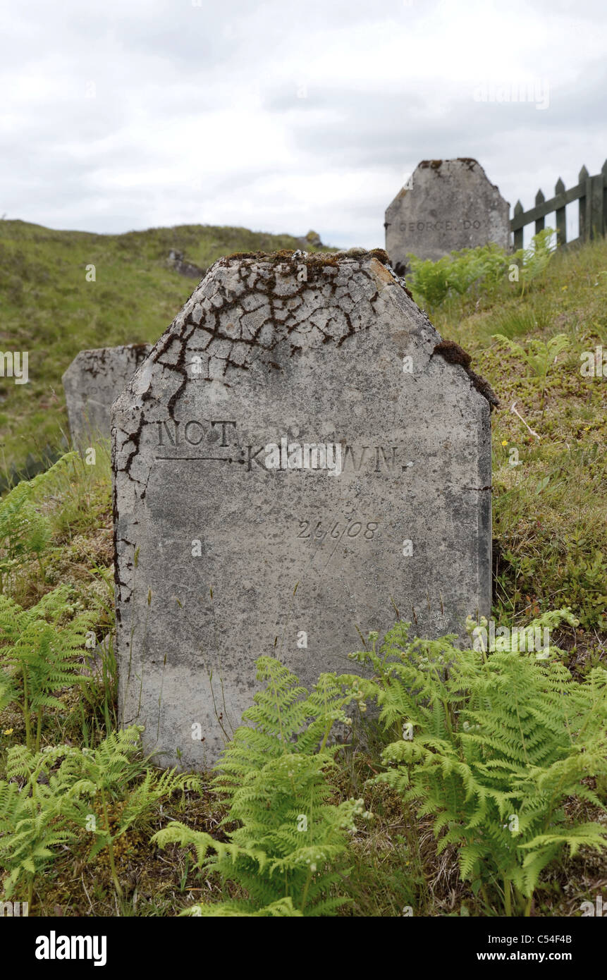 The grave of an unknown worker who died during the construction of the Blackwater Reservoir near Kinlochleven in - Stock Image