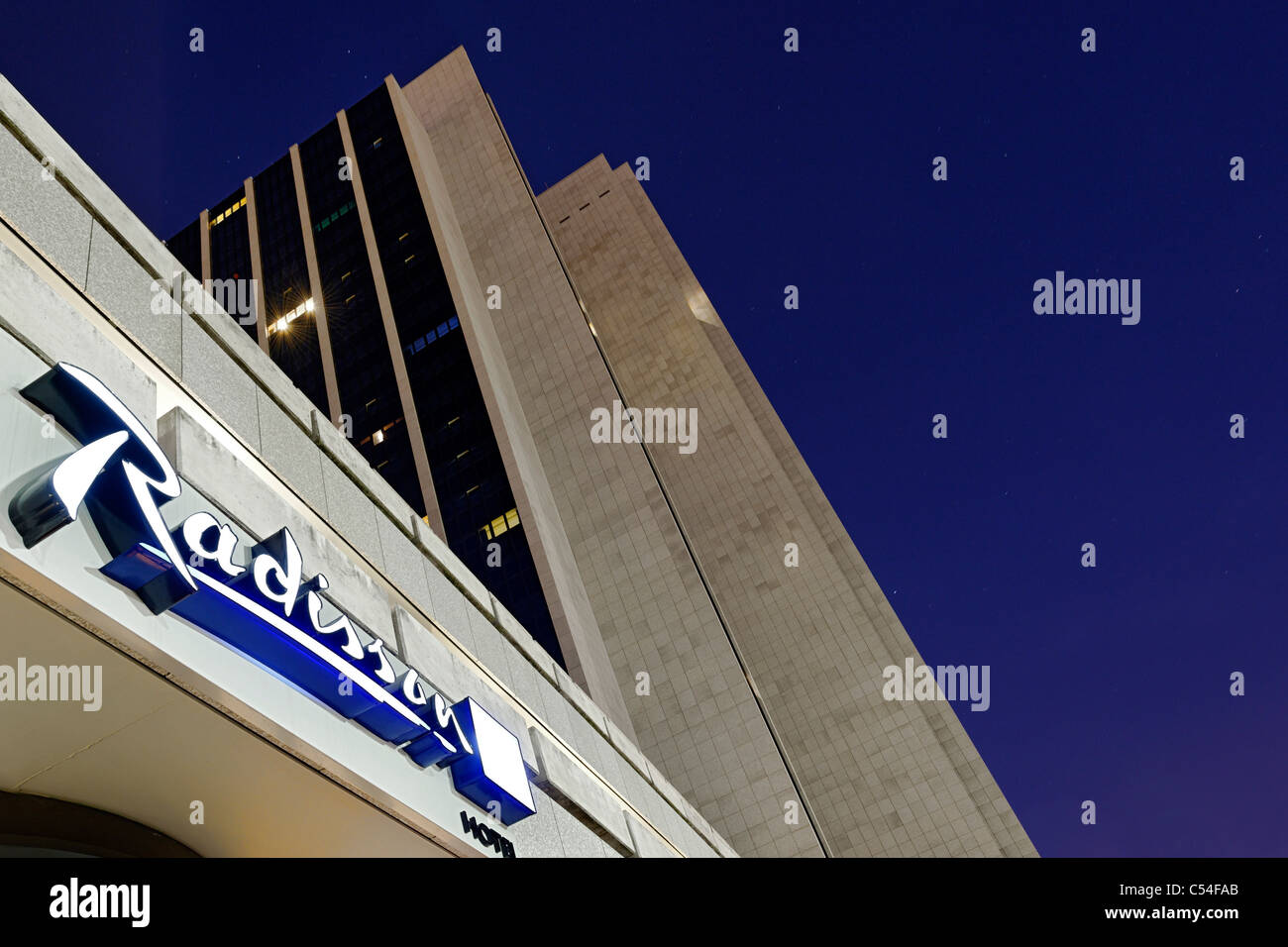 Newly renovated facade of the Radisson Blu Hotel, 32 floors, Dammtorbahnhof, Hamburg-Mitte district, Hamburg, Germany, - Stock Image