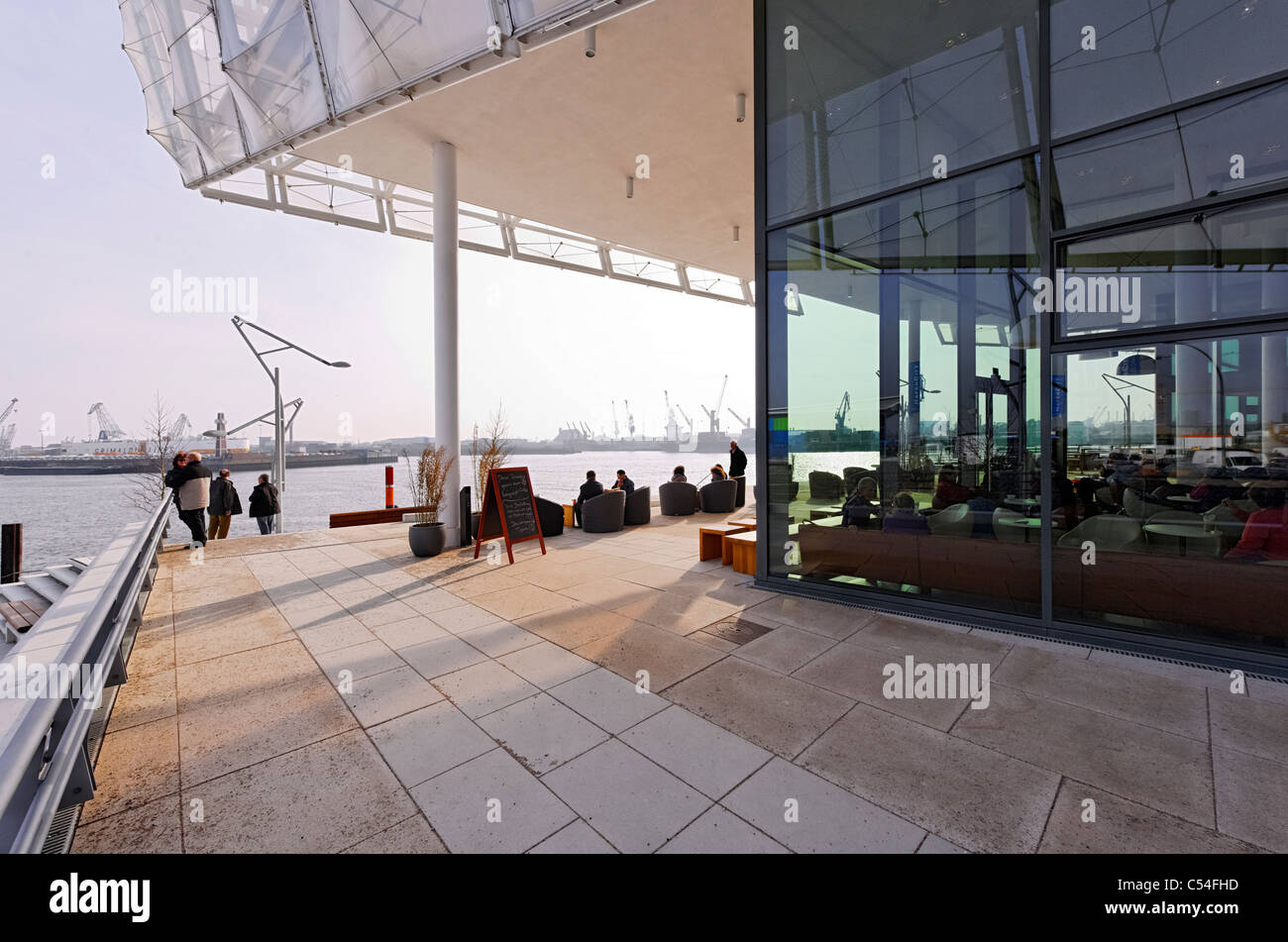Exterior, terrace to the River Elbe, UNILEVER German headquarters, office complex, world's best office building - Stock Image