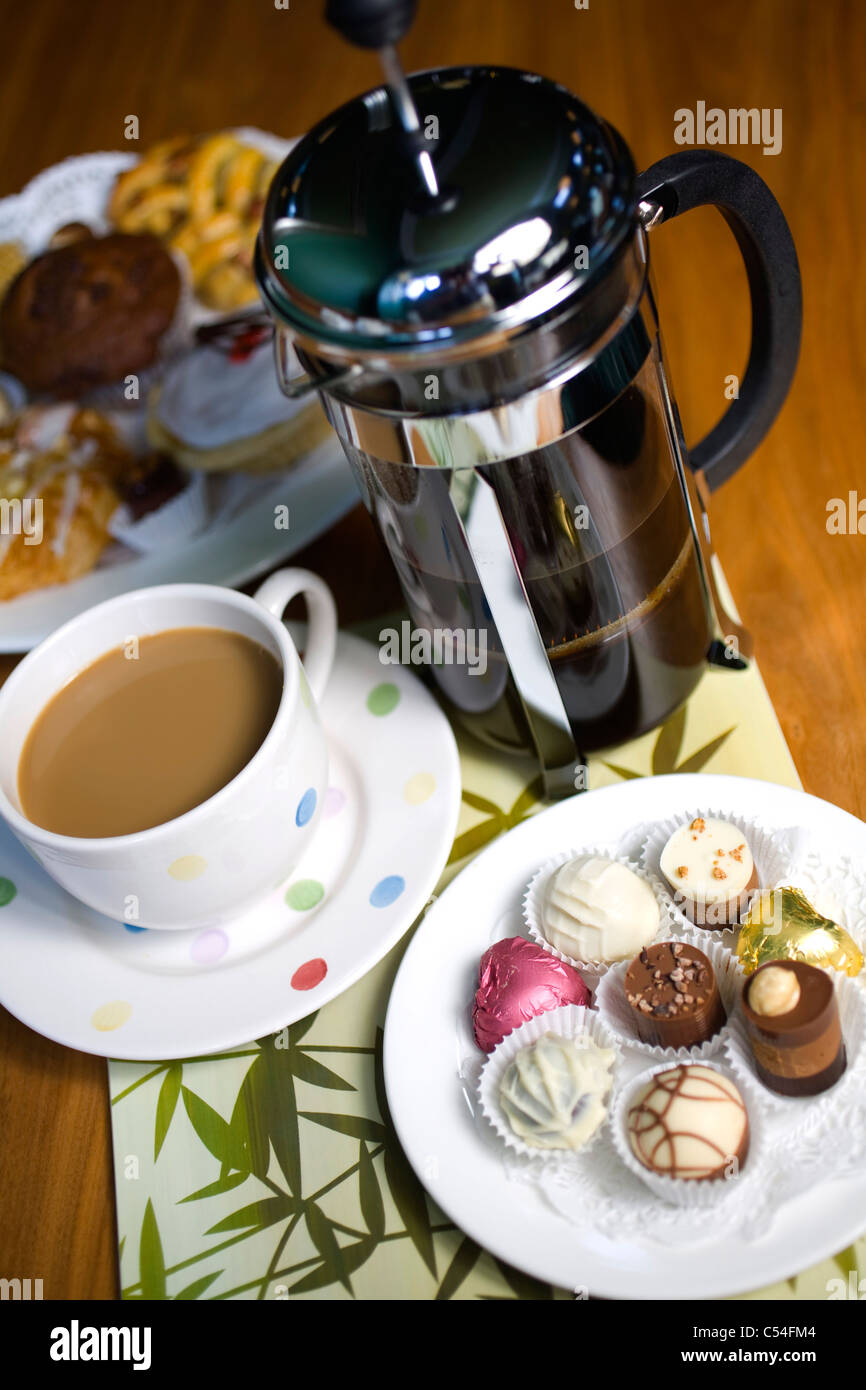 Coffee, cup, pot, chocolates, pastries, Hotel, Isle of Wight, England, UK, - Stock Image