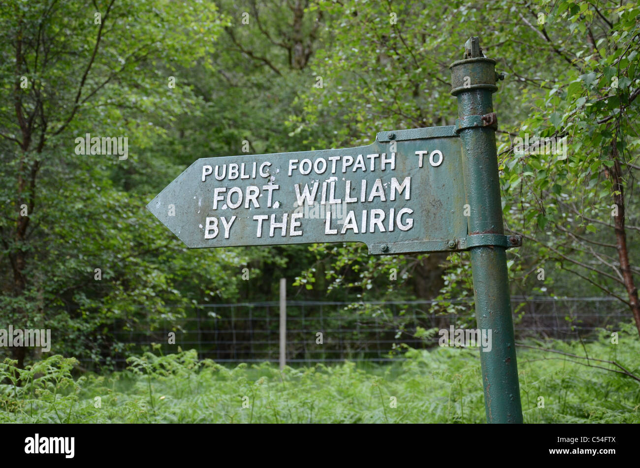 Signpost on part of the West Highland Way between Kinlochleven and Fort William. Stock Photo