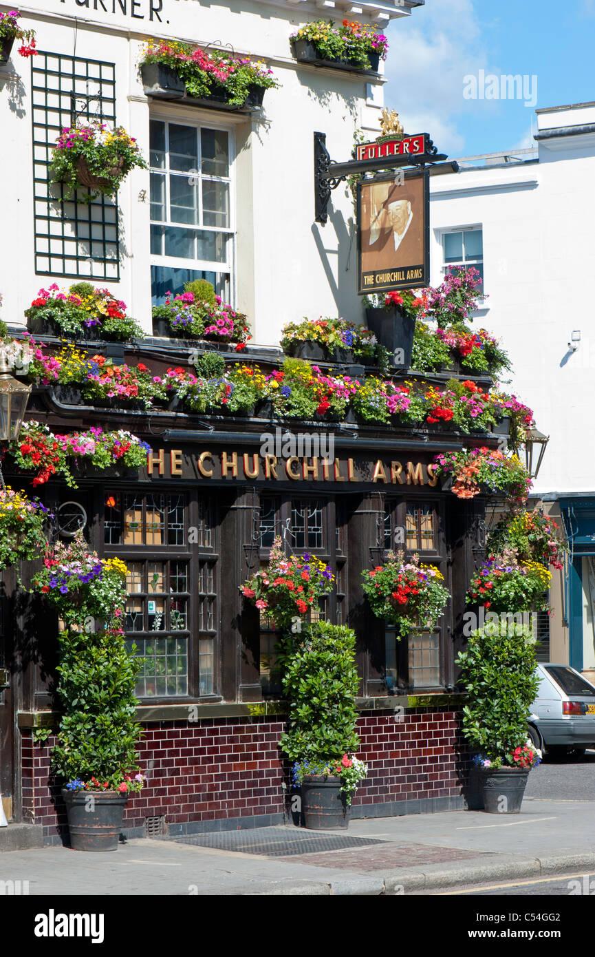 Fullers The Churchill Arms pub, Kensington, London, United Kingdom - Stock Image