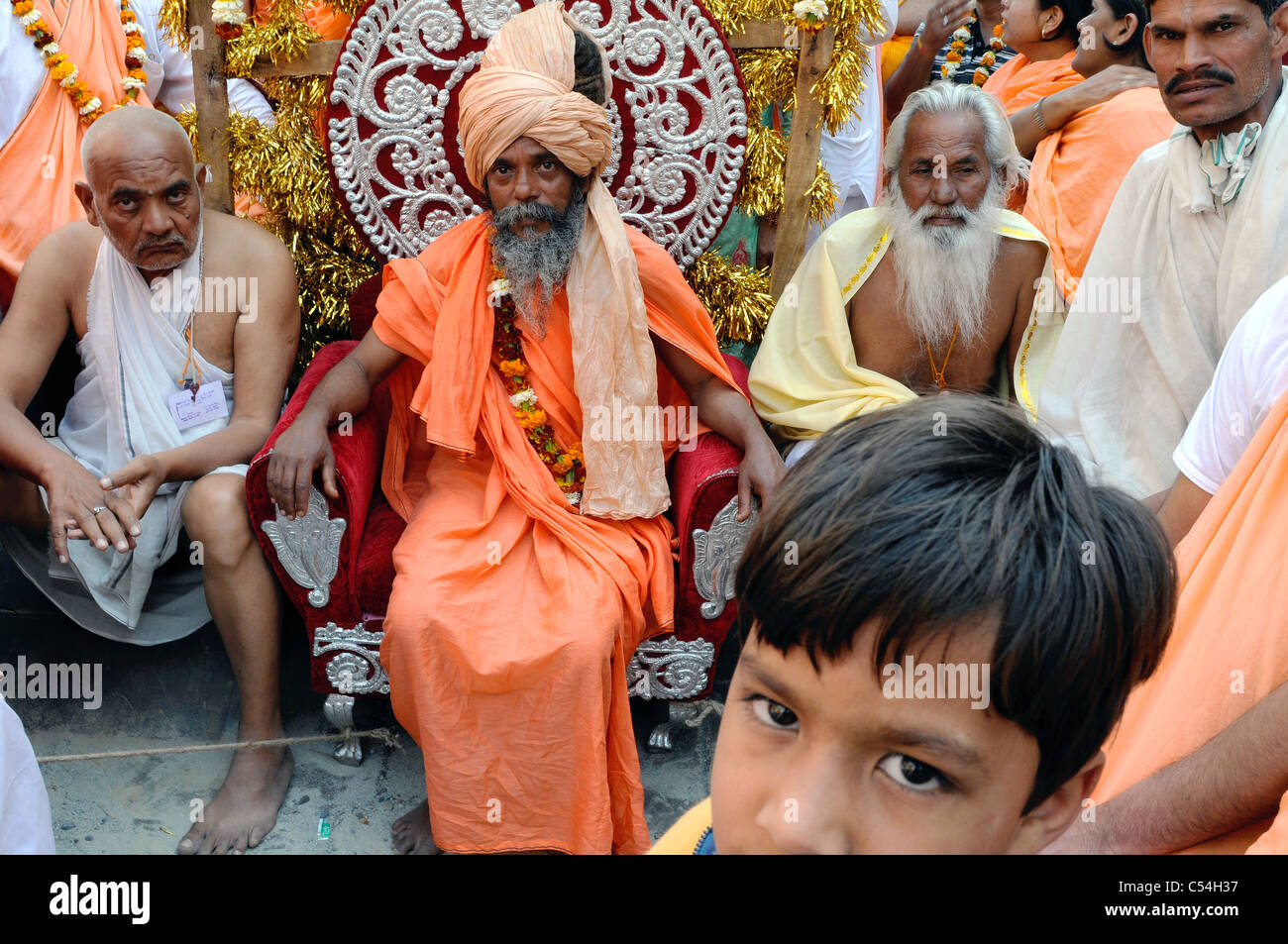 A sadhu (Hindu holy man) at the Kumbh Mela festival in India. - Stock Image