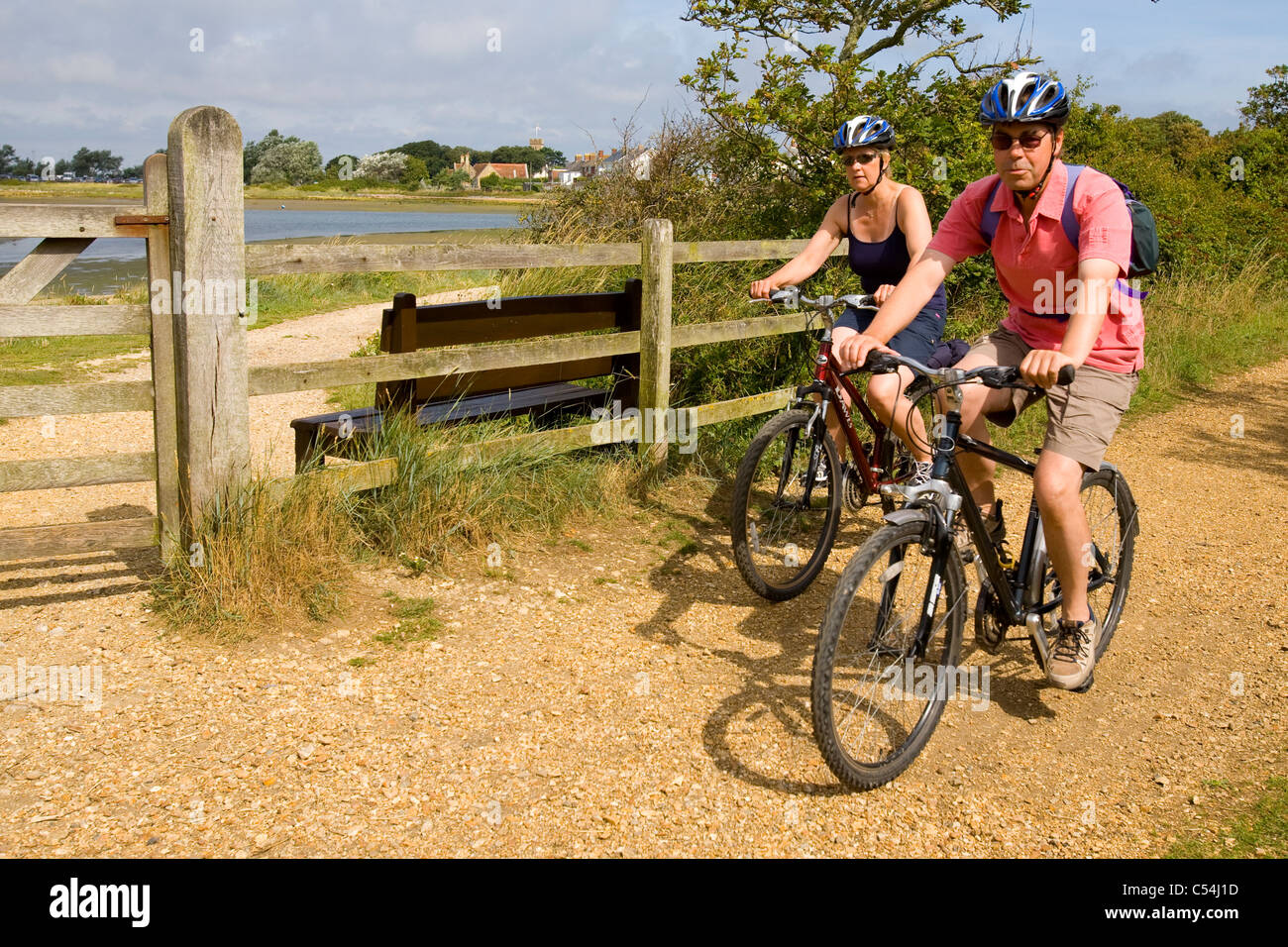 Cyclists, Bridleway, Yarmouth, to, Freshwater, Isle of Wight, England, UK, - Stock Image