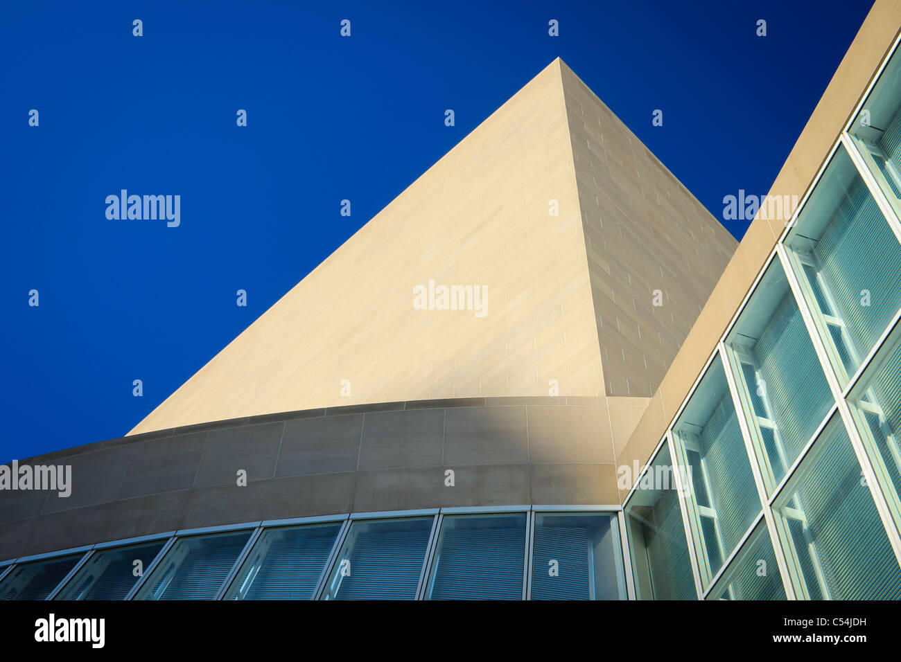 The Meyerson Symphony center  in Dallas with it's sharp angles and shot against a deep blue sky. - Stock Image