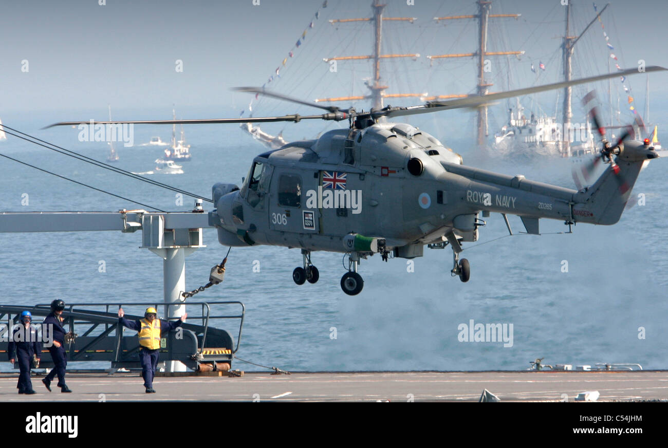 Royal Navy Lynx Helicopter. Aircraft Carrier, Nelson Celebrations, The Solent, Cowes, Isle of Wight, England, UK, - Stock Image