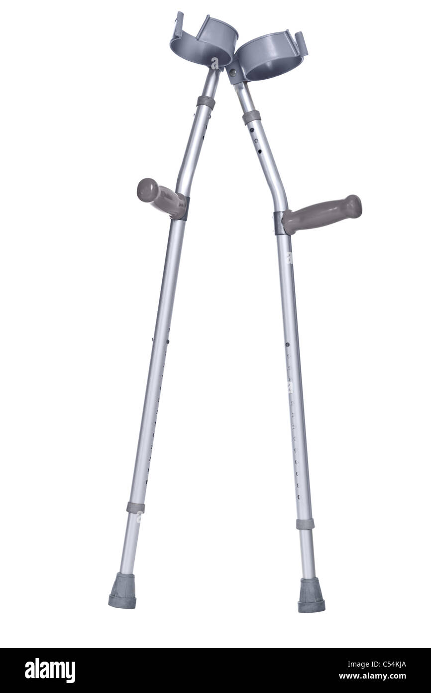 Photo of a pair of crutches isolated on white with detailed clipping path. - Stock Image