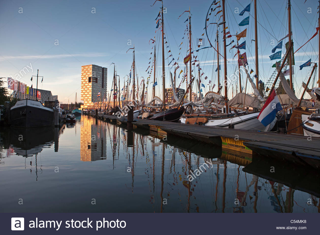 The Netherlands, Amsterdam, sailing event SAIL, celebrated every 5 years. SAIL-2010. Sailing ships moored in harbour. - Stock Image