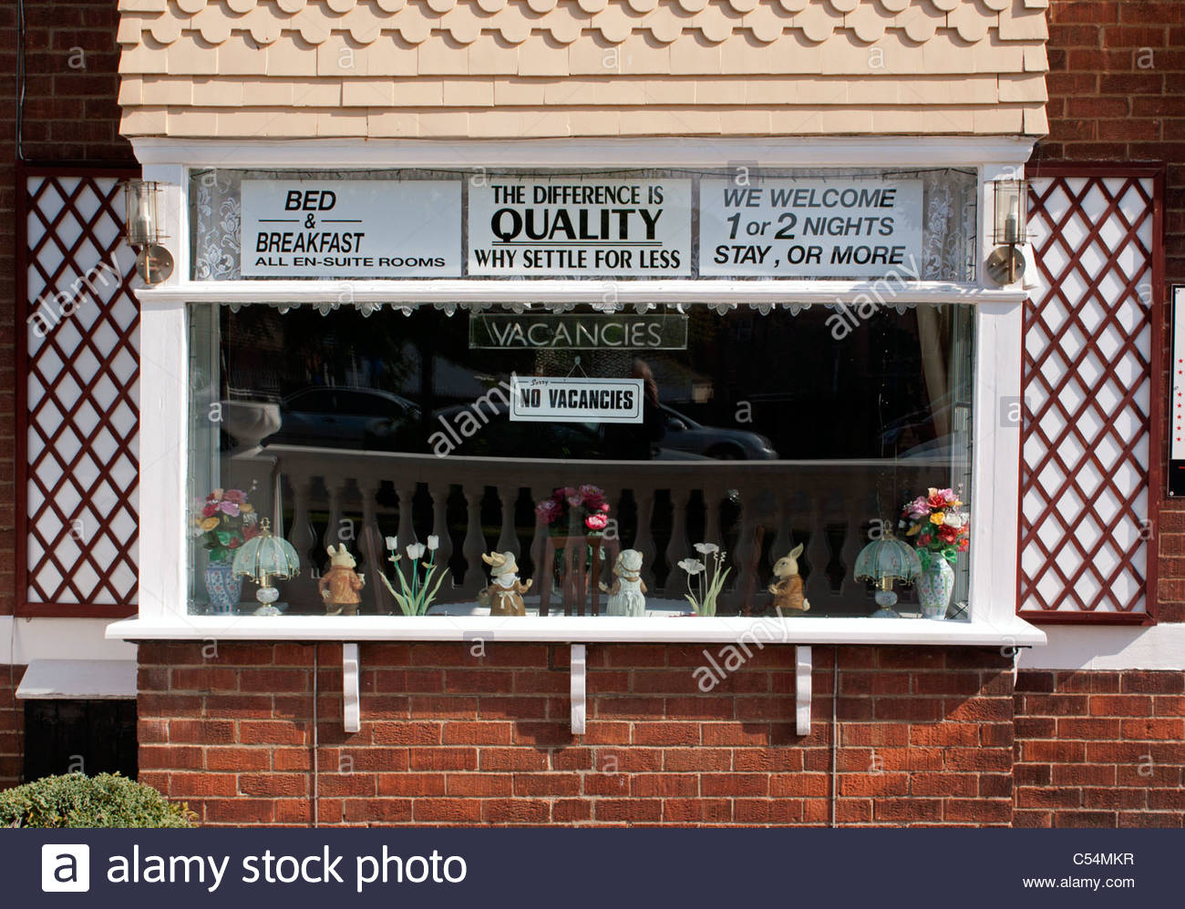 'The difference is quality. Why settle for less.' Bed and breakfast guest house; Skegness, Easter weekend - Stock Image