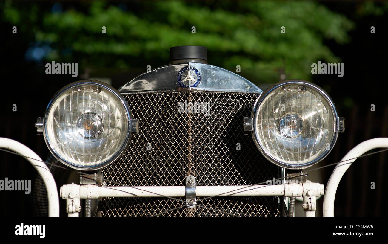 Mercedes Benz Grill and lights Old car pre war - Stock Image