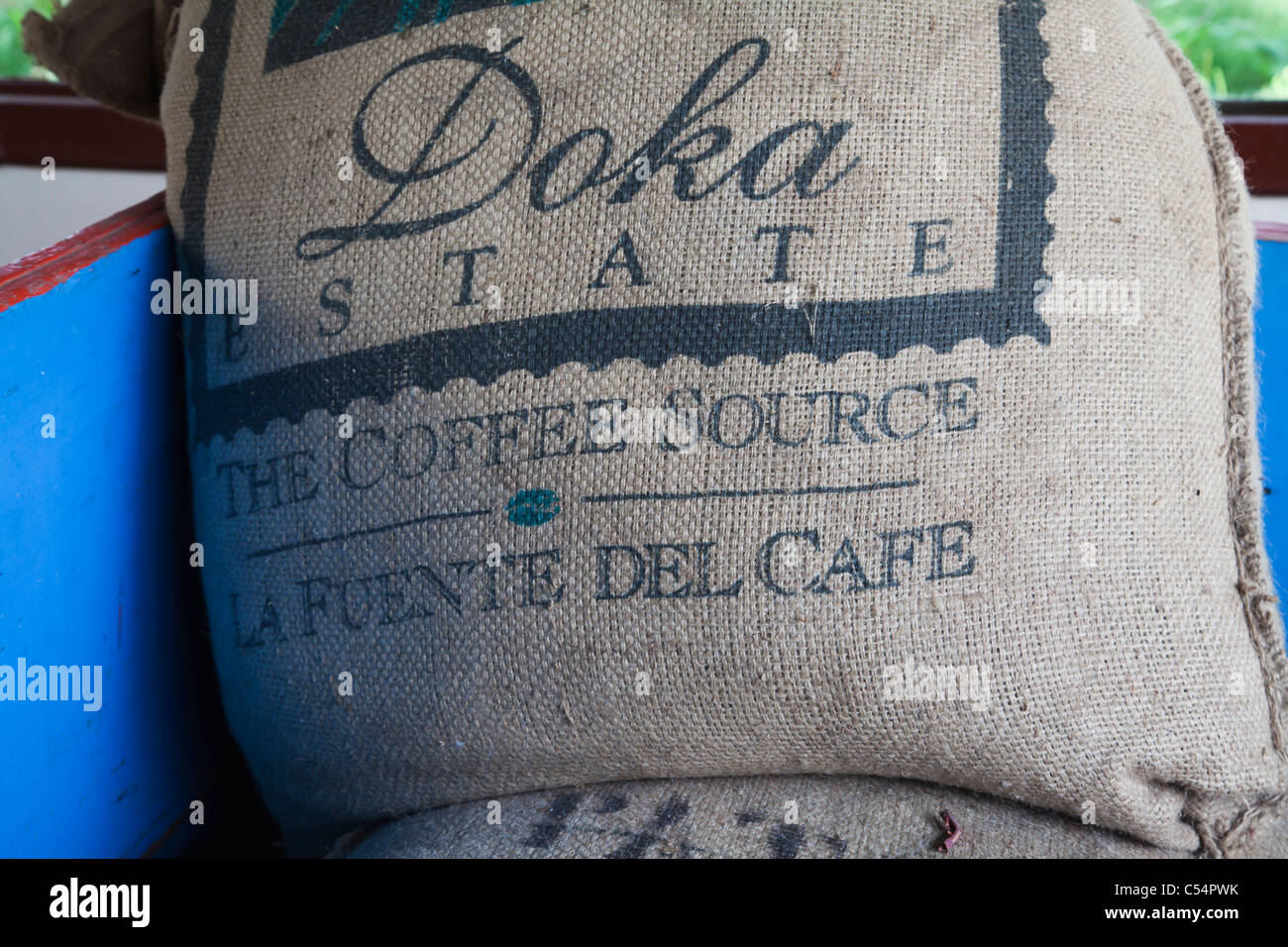 Coffe sack in traditional Costa Rican oxcart - Stock Image
