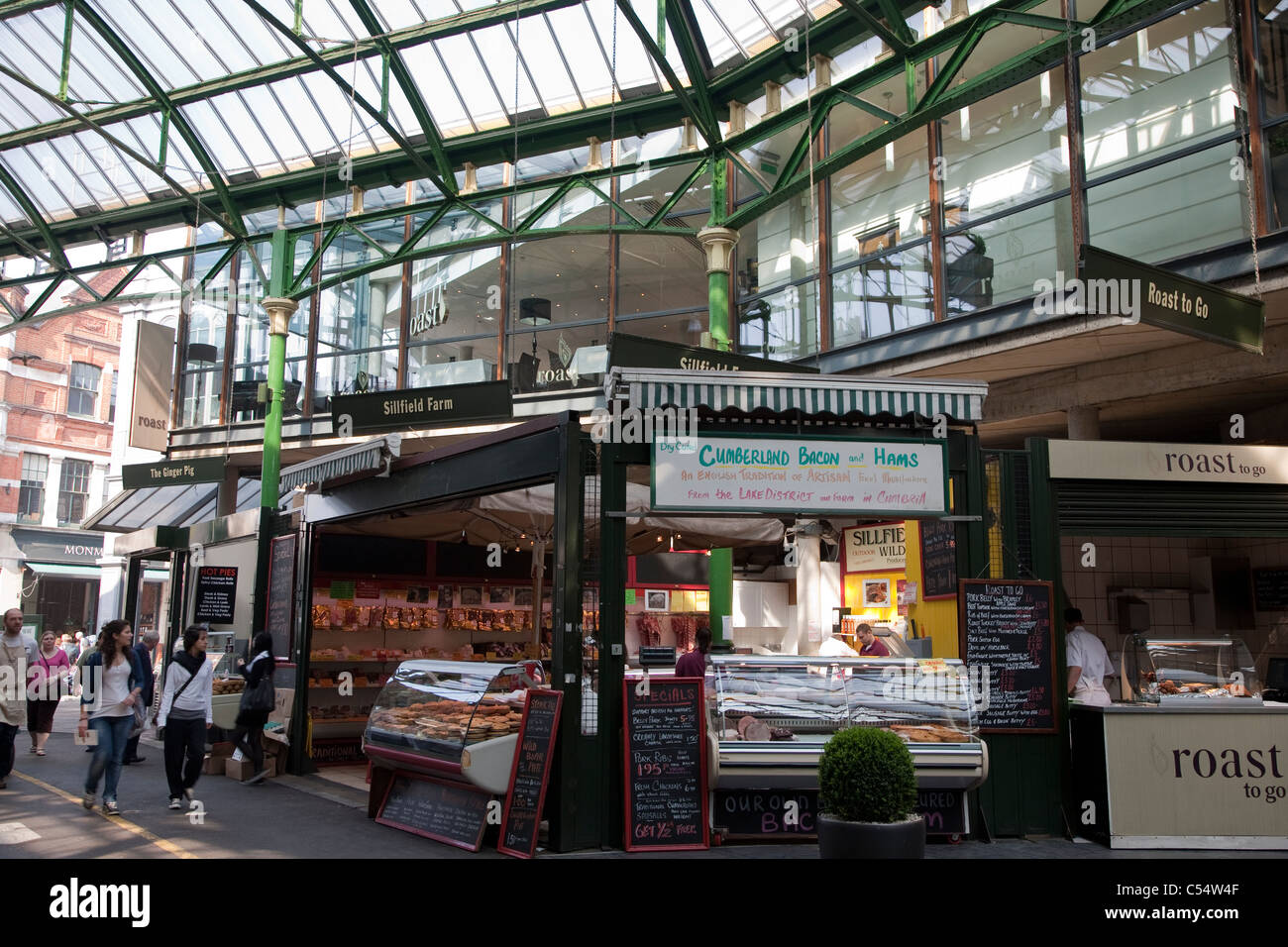 People Shopping in Borough Market, London - Stock Image