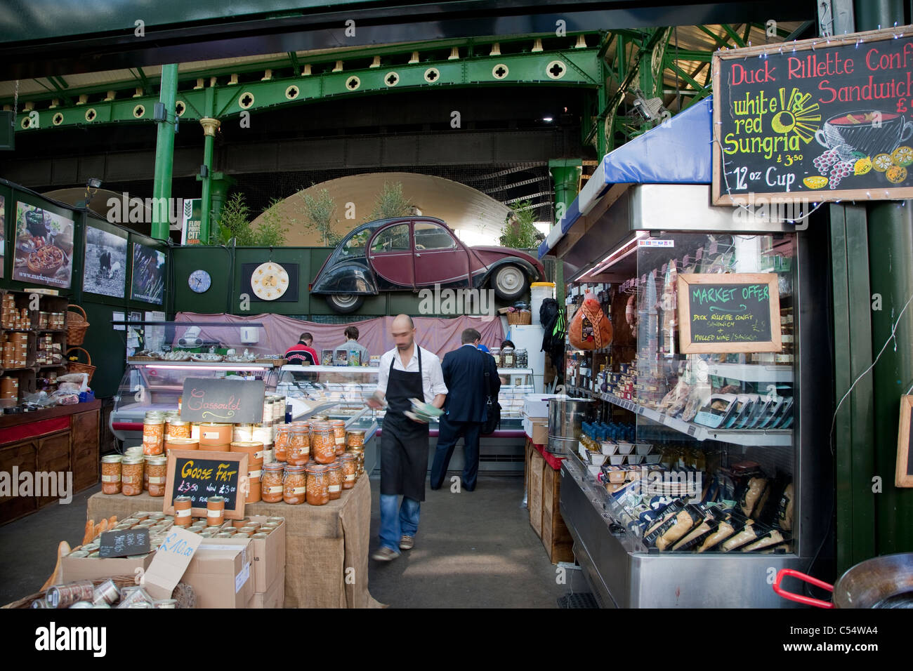 French Food Stall in Borough Market, London, UK - Stock Image