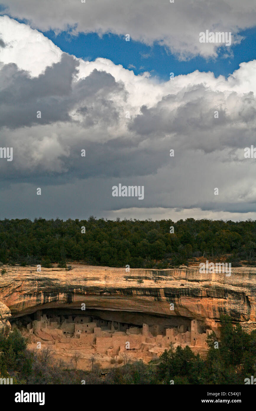 USA, Colorado, Mesa Verde National Park, Anasazi Cliff Dwelling - Stock Image