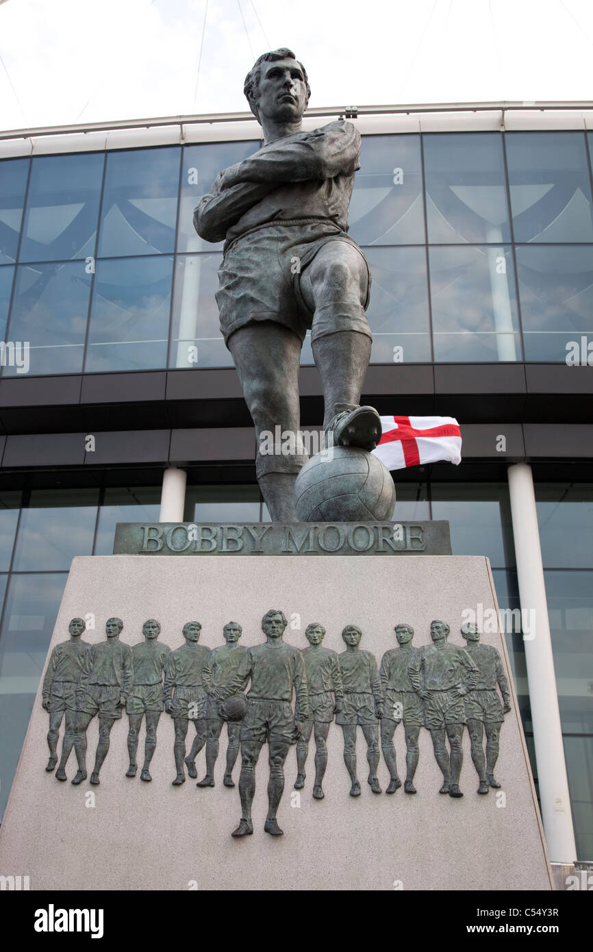 Bobby Moore Statue at Wembley Stadium, London, UK - Stock Image