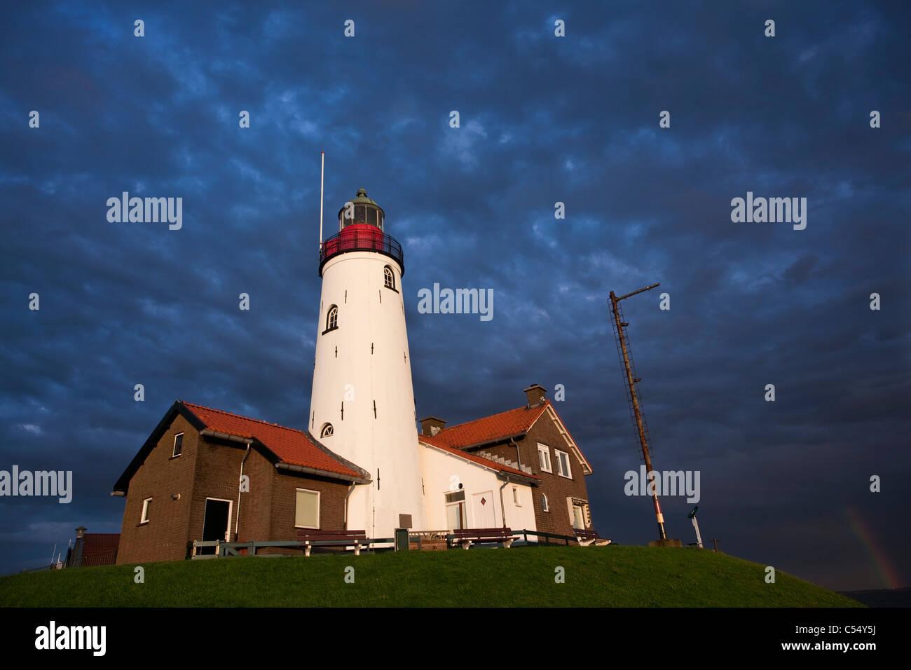 The Netherlands, Urk, Lighthouse of the fisher village, Flevopolder. - Stock Image