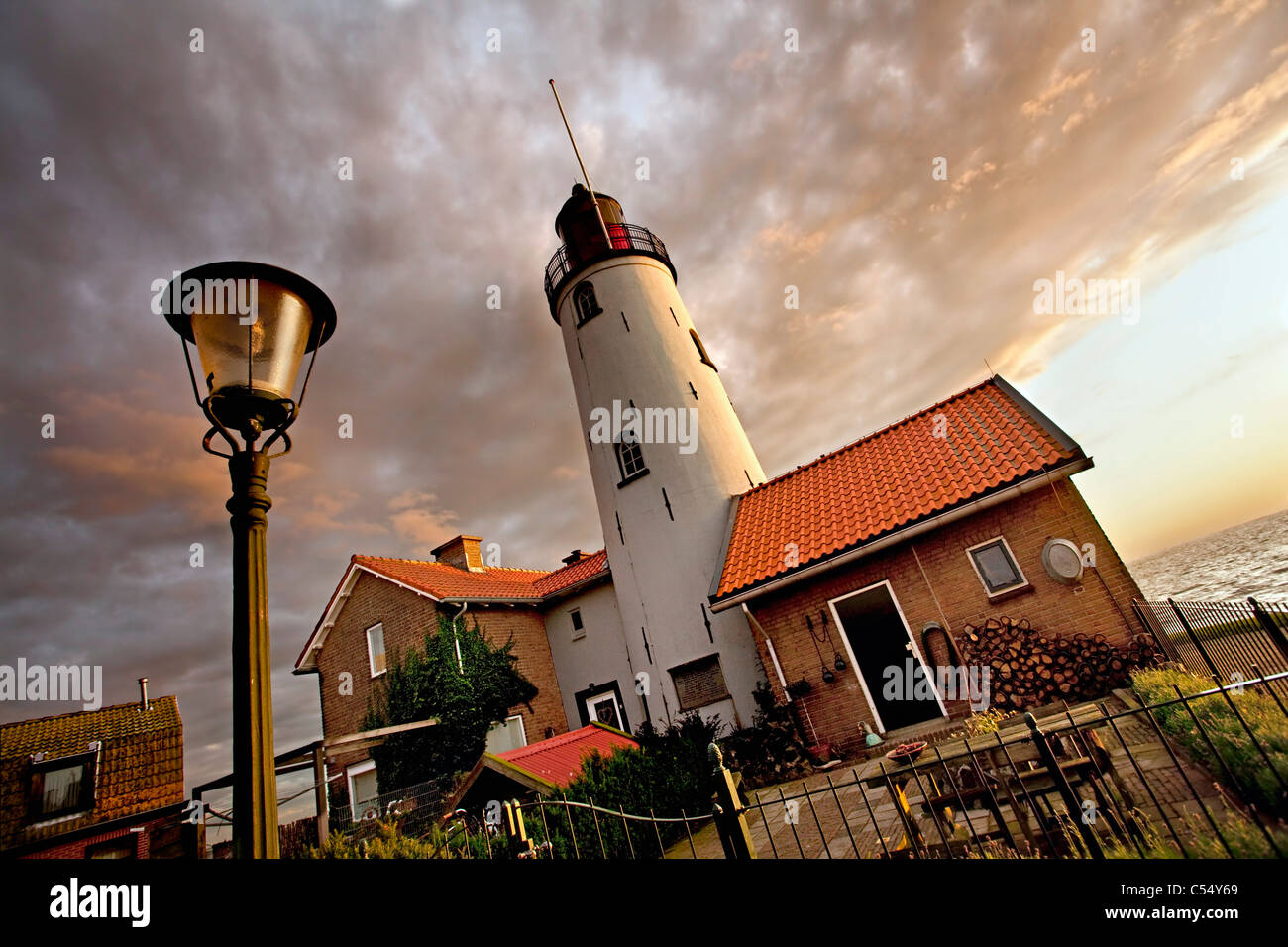 Lighthouse of the fisher village, which was an island in the Zuiderzee. Flevopolder in 1939 - Stock Image