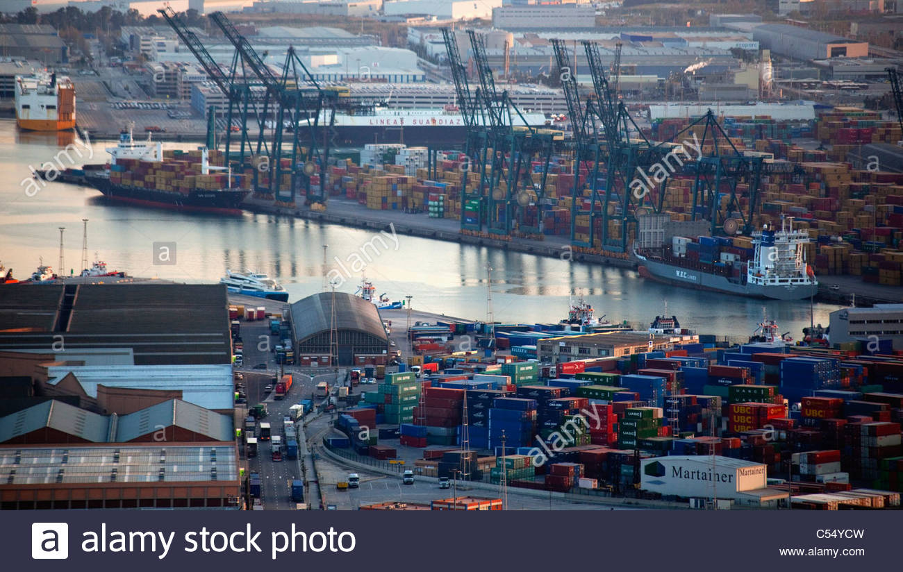 Spain, Barcelona, high angled view of city port - Stock Image