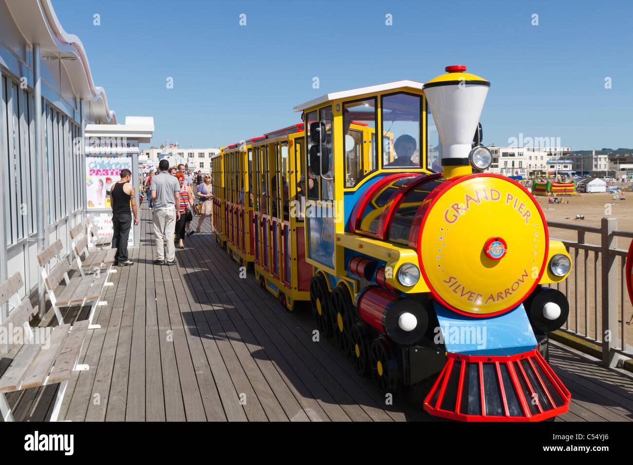 Small train on the Grand Pier in Weston Super Mare - Stock Image