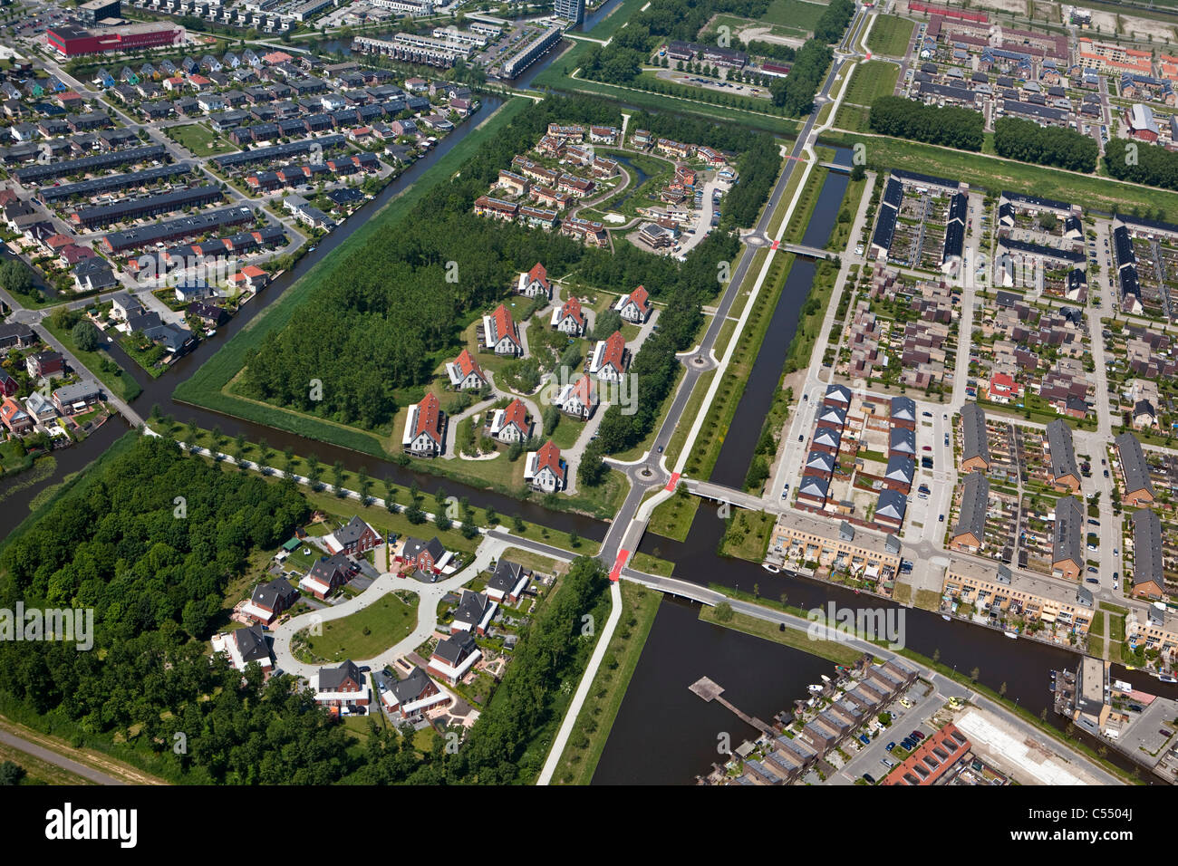 The Netherlands, Almere, Modern residential areas. Aerial. - Stock Image