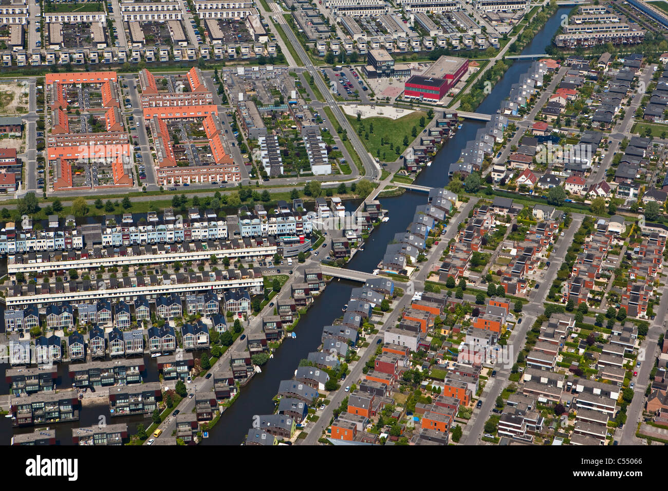 The Netherlands, Almere, Modern residential areas. Aerial - Stock Image