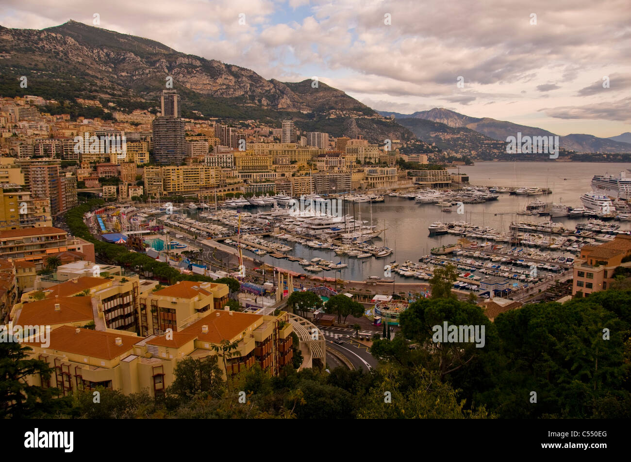 View of Monaco and Mediterranean Sea - Stock Image