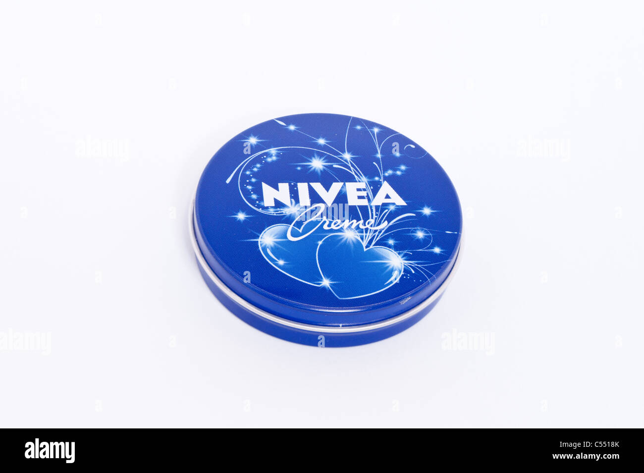 A tin of Nivea moisturising creme on a white background - Stock Image
