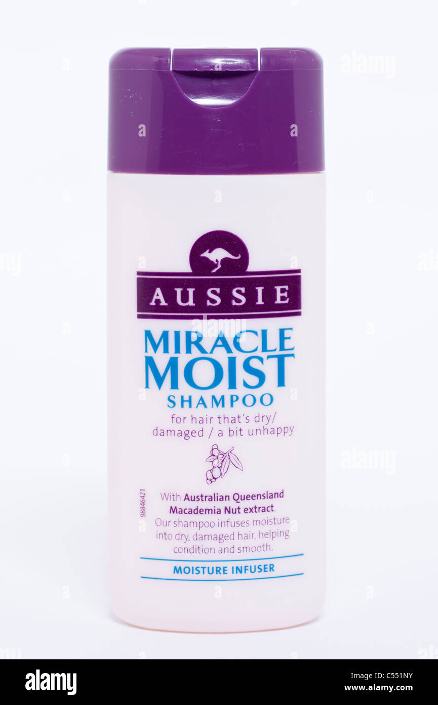A bottle of Aussie miracle Moist shampoo on a white background - Stock Image