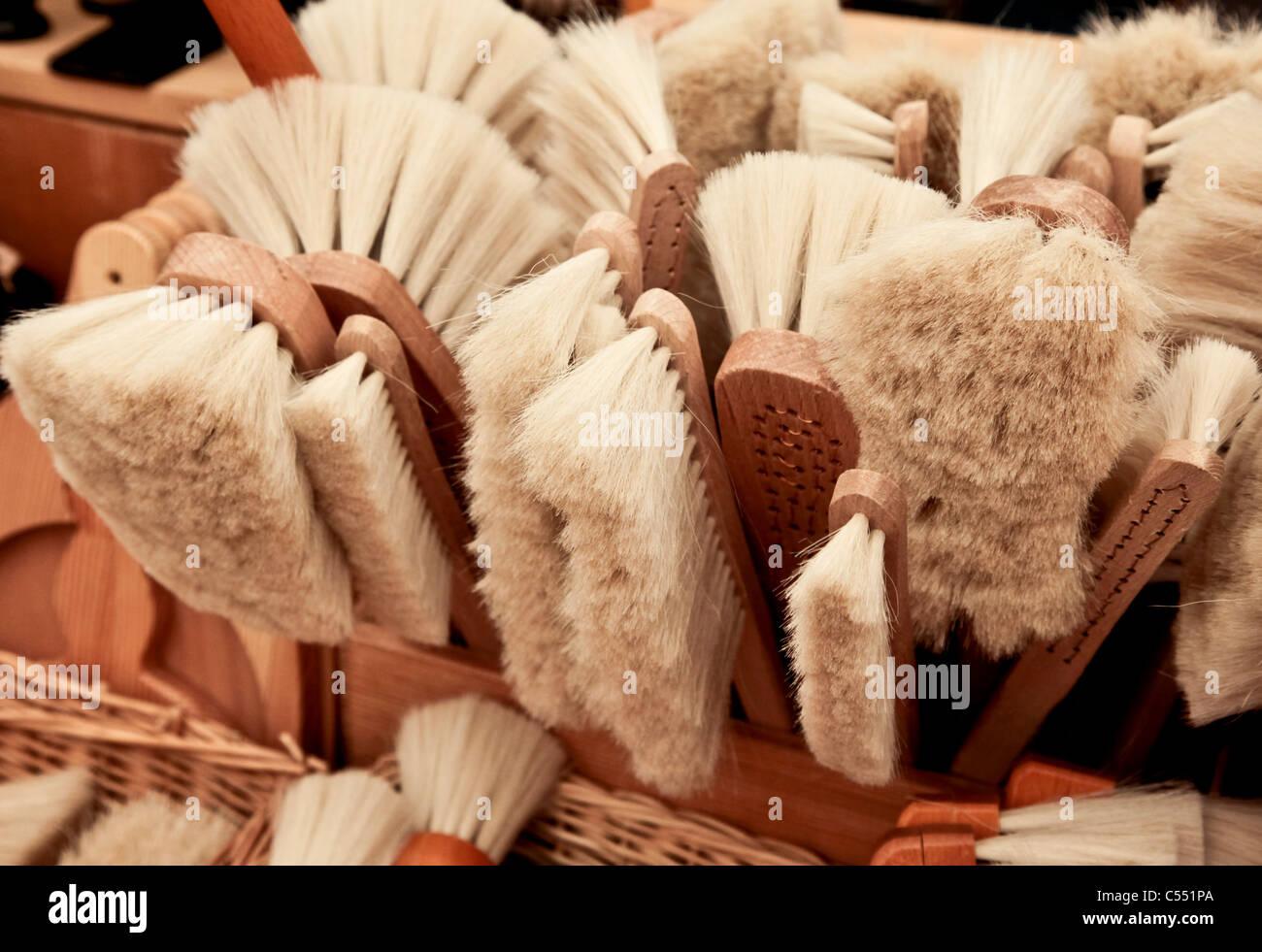 Hand brush with natural bristles - Handfeger mit Naturborsten - Stock Image