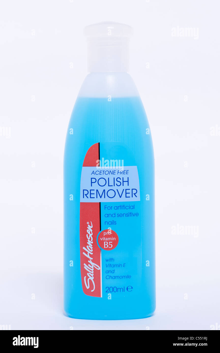 A Bottle Of Sally Hansen Acetone Free Nail Polish Remover On White Background