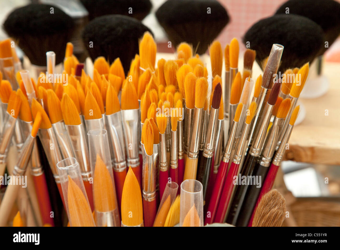 Many different brushes from different animal hair - Viele verschiedene Pinsel aus unterschiedlichen Tierhaaren - Stock Image