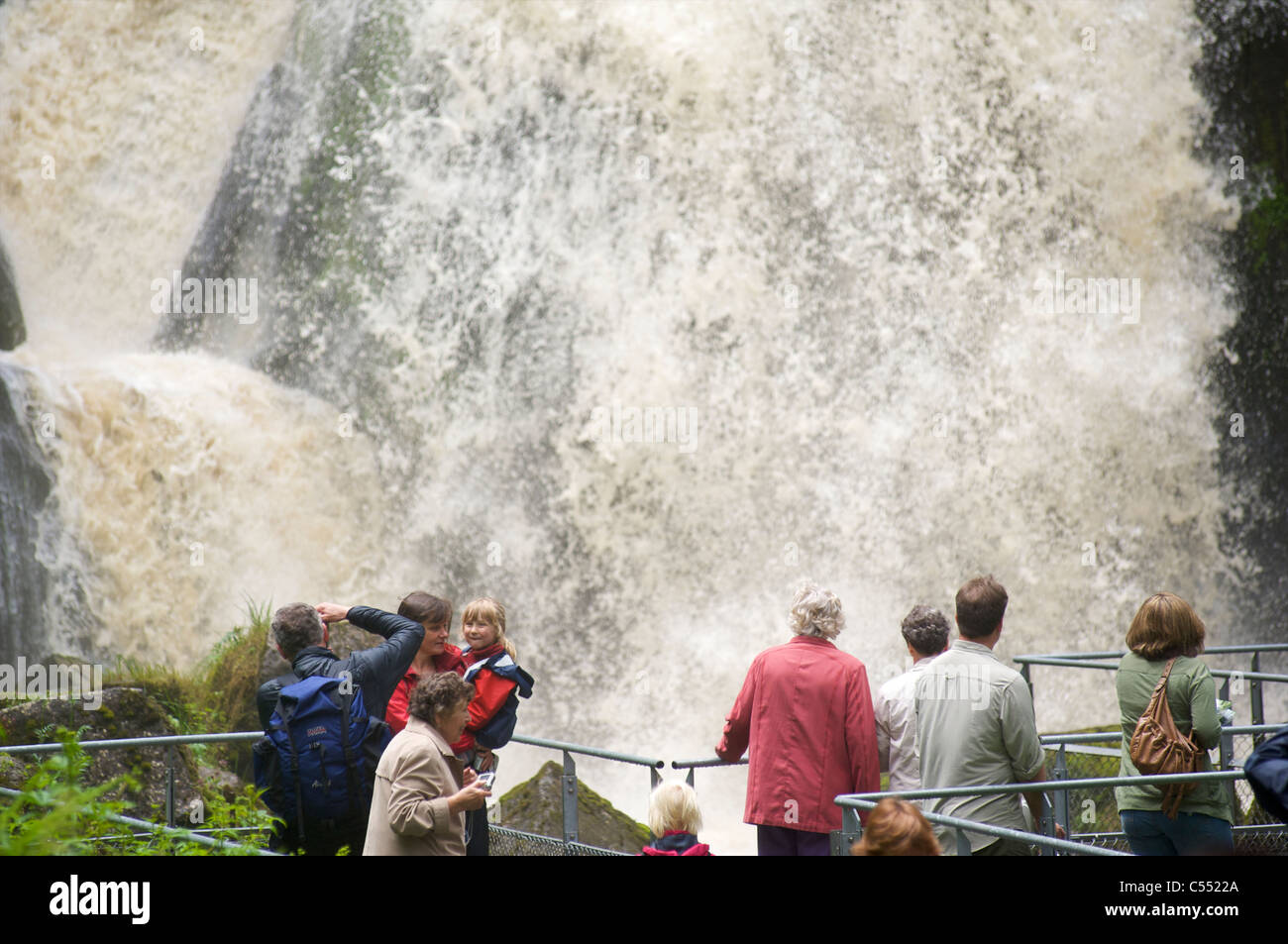 People visiting the highest waterfall in Germany in Triberg, Black Forest, Baden-Wurttemberg - Stock Image