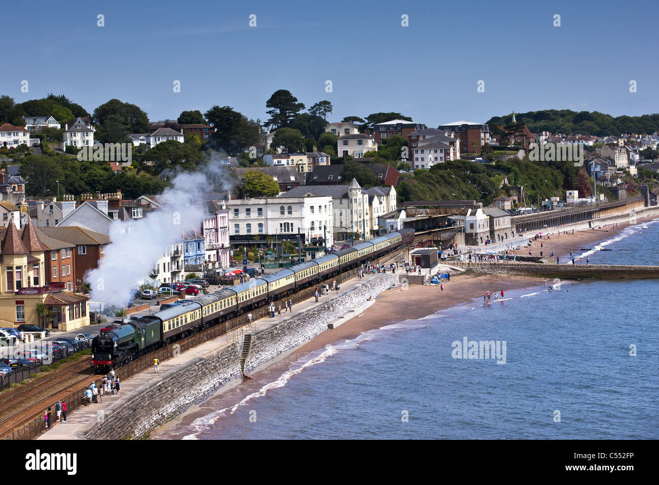 Torbay Express, coming through Dawlish along the sea wall. Stock Photo