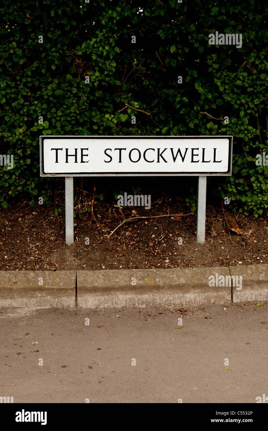 UK Rural Village Freestanding Street Sign, 'The Stockwell'. Portrait. - Stock Image
