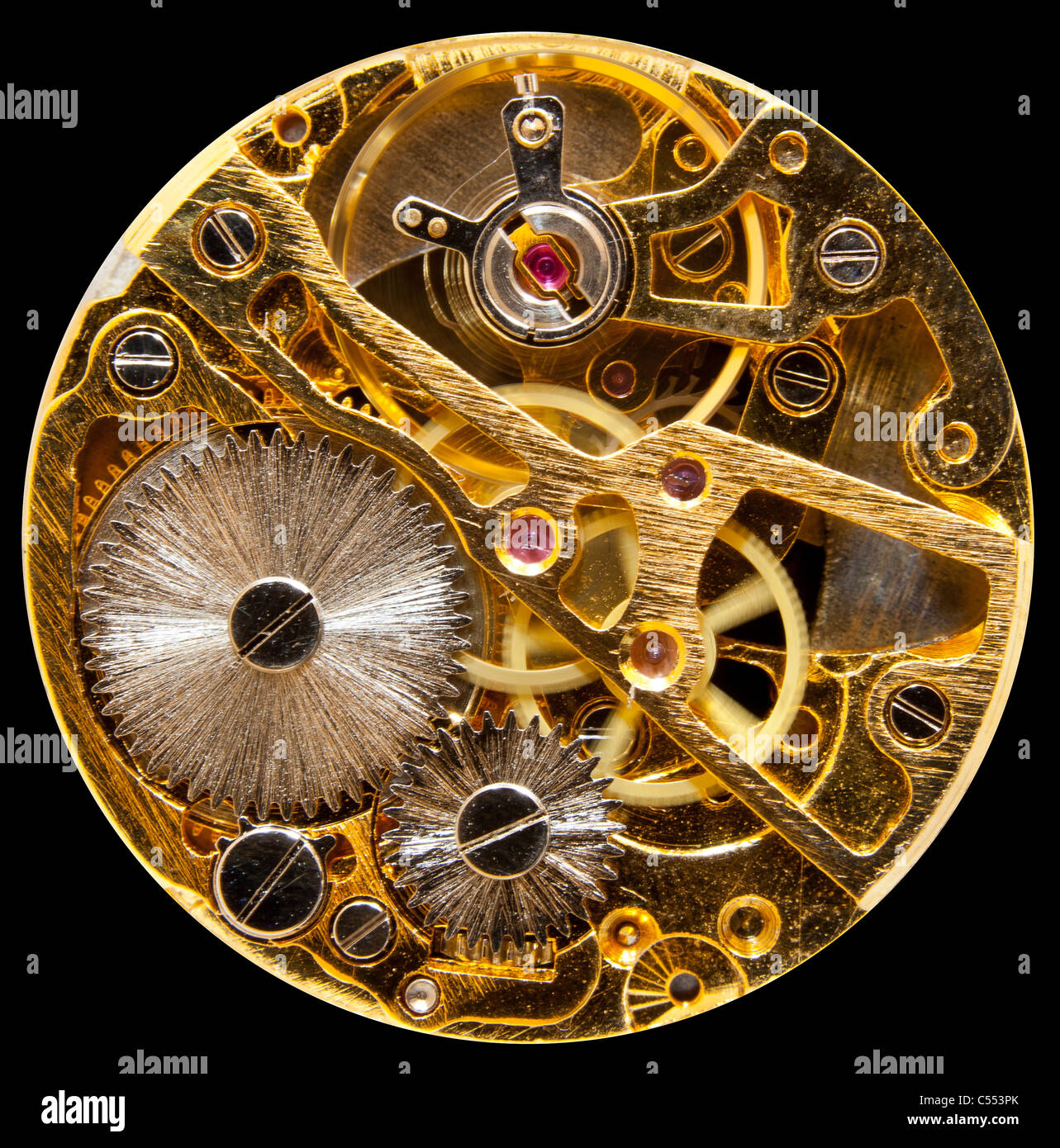 Macro shot of the interior of an old pocket watch with a mechanical movement - Stock Image